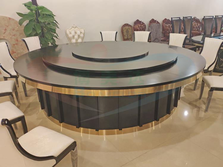 中式实木竖条电动圆桌
