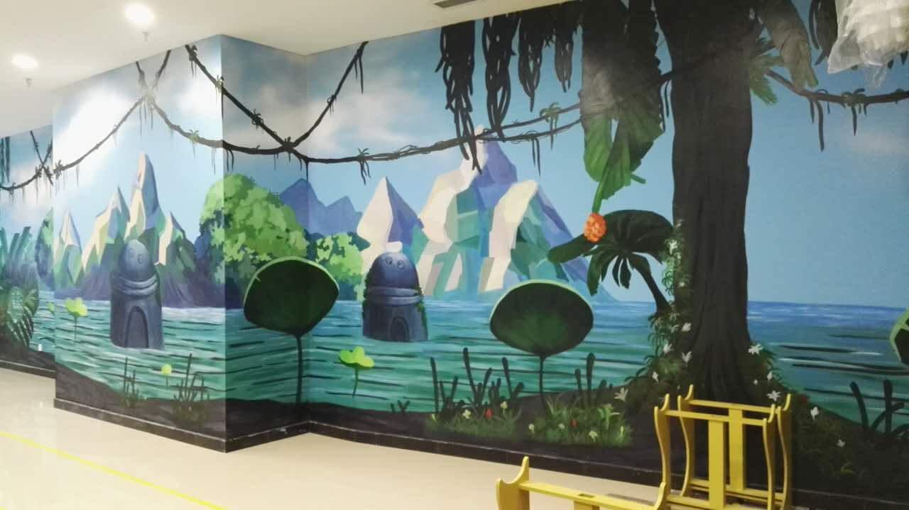 风景画-办公空间-工装墙绘-案例-画里画外艺术设计