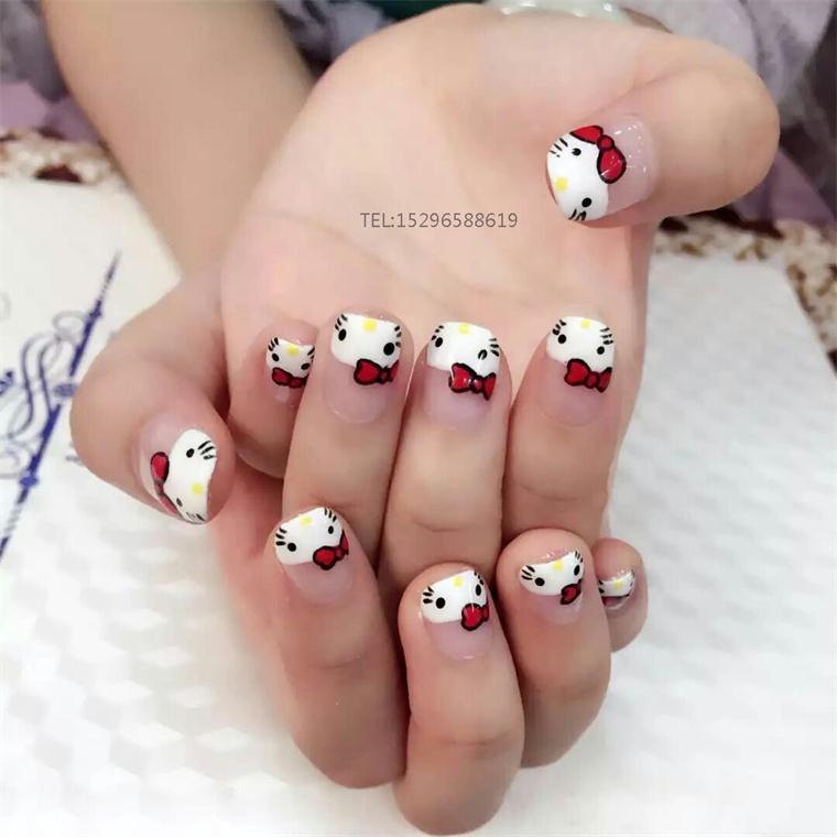 线条,梅花,紫荆花等)     ①法式豹纹美甲     ②可爱的熊猫美甲