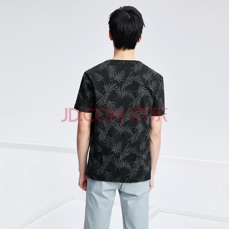 HLA万博手机登录网址是多少之家短袖T恤男树叶满身印花透气丝光棉HNTCJ2E022A黑色花纹