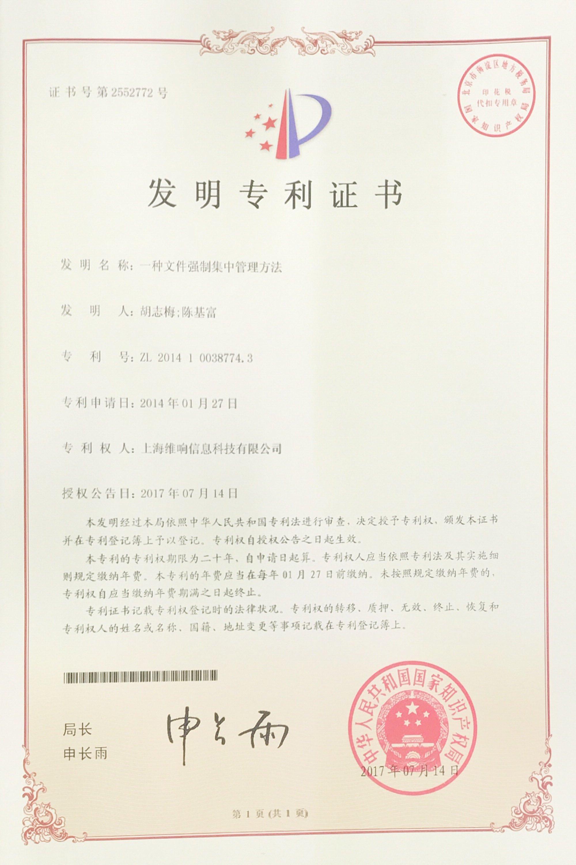 强制集中专利证书